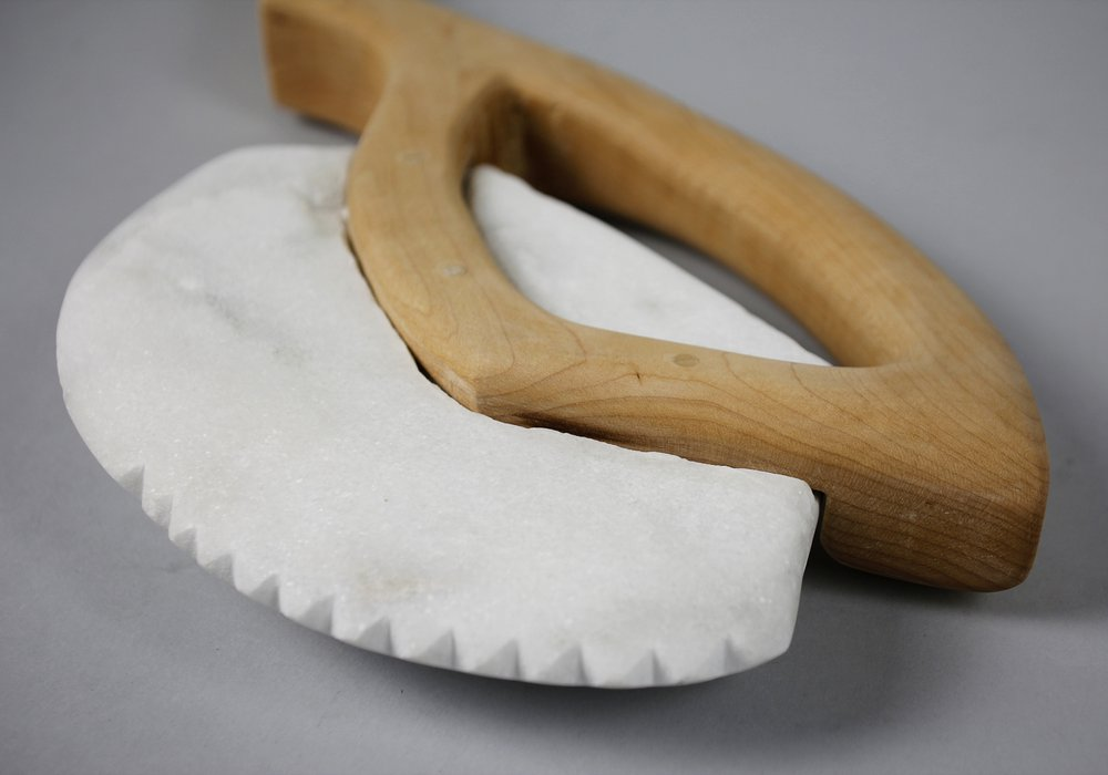 Handcrafted marble + maple axe
