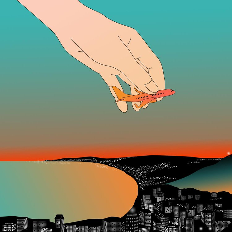 illustration of a hand holding an aeroplane above a coastal landscape