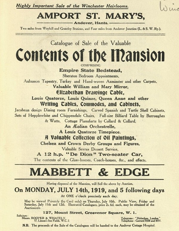 Sale catalogue of contents auction at Amport St Mary's, Mabbett & Edge, 1919