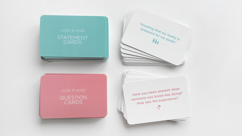 Conversation cards; an example of the tools to start a conversation about end of life.