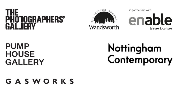 Logos for Pump House Gallery, Gasworks, Nottingham Contemporary, The Photographers' Gallery and Wandsworth Council