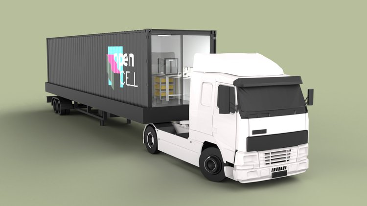 rendering of container testing lab on truck