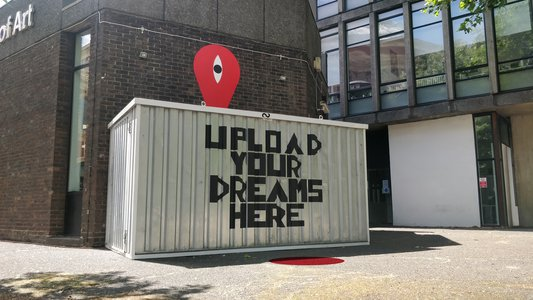 UPLOAD YOUR DREAMS (Installation View Outside)