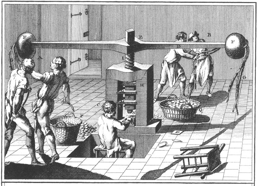 'Minting', showing balancier (screw or fly press), The Encyclopedia of Diderot and d'Alembert, Volume 8, Plate XV, Paris 1771.