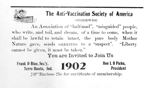 A leaflet promoting membership in the Anti-Vaccination Society of America membership (held at the Historical Medical Library of the College of Physicians of Philadelphia; licensed under Creative Commons)