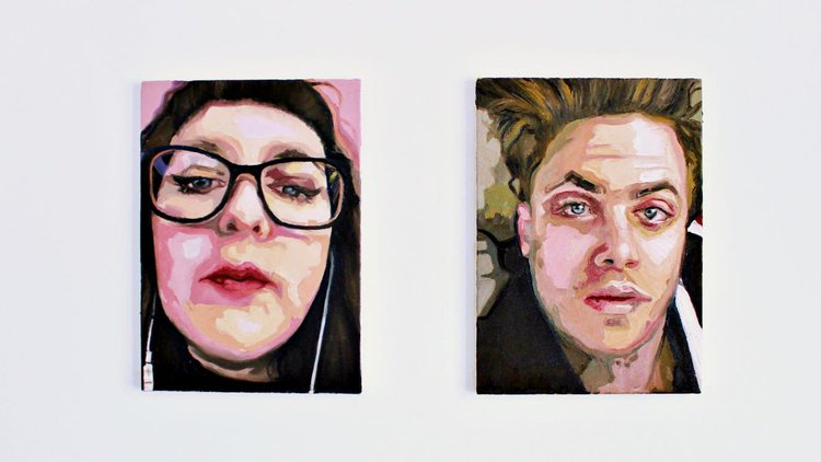 Being-Together and Being Apart by Emily Gillbanks, MA Painting - a diptych painting of two people using FaceTime