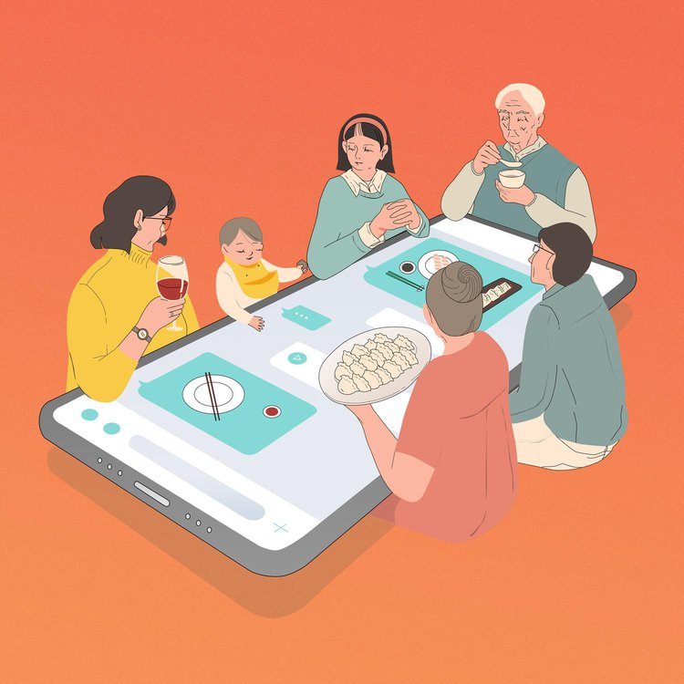 Illustration showing a family sitting around a table, which is an iphone, to eat a meal