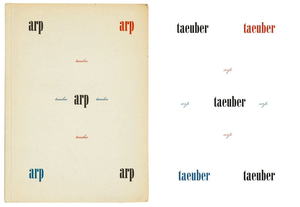 Cover of Arp's original memoir on Sophie Taeuber and cover of 'fold; The Letters' . The reversed fonts refer to the reversal of the speaker. In the multiple, she it is she that is speaking.