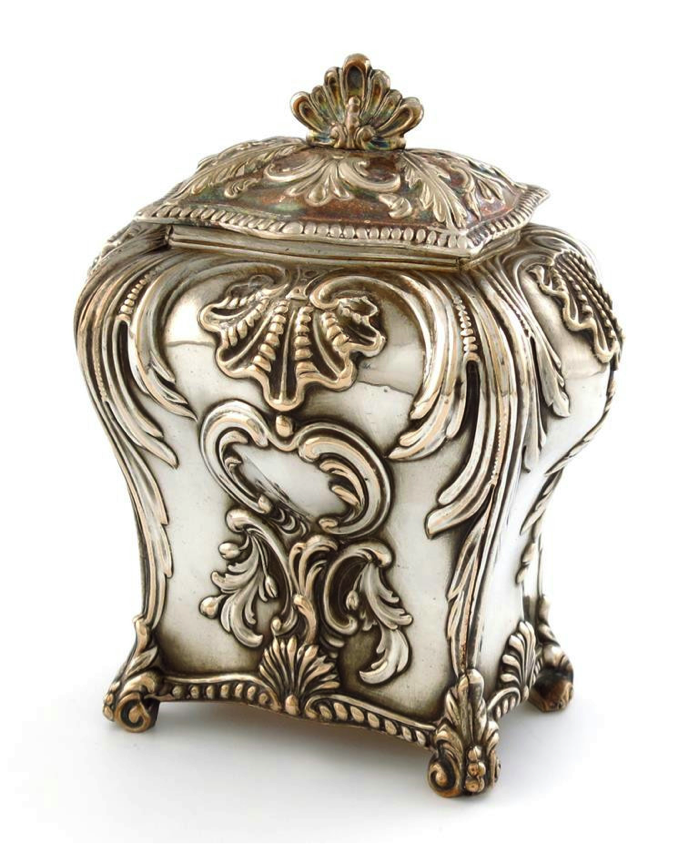 Henry Tudor and Co, Sheffield plate tea caddy,1765-1769, die-stamped, made in Sheffield, Woolley and Wallis sale, lot 52, 21 January 2015.