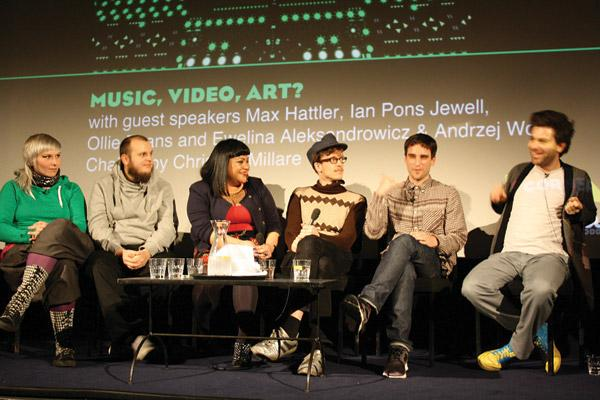 Christina Millare (centre) chairing the 'Music, Video, Art?' Q & A at Cornerhouse, with artists Ewelina Aleksandrowicz and Andrzej Wojtas, Max Hattler, Ollie Evans and Ian Pons Jewell
