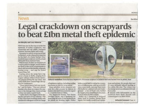 Research Article: Legal crackdown on scrapyards to beat £1bn metal theft epidemic, Evening Standard, 21 December 2011, p. 6