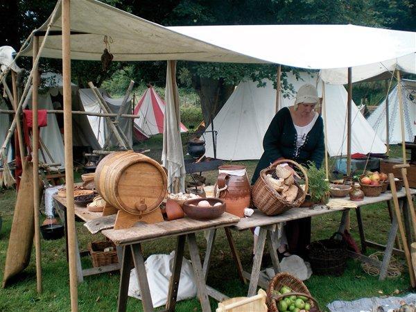Re-enactor in the Living History Encampment, England's Medieval Festival 2008, Herstmonceux Castle, Sussex, England
