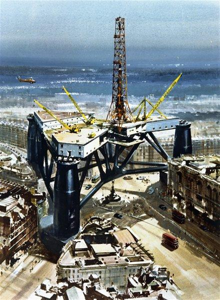 Artist's Impression, to Scale, of British Petroleum's 'Sea Quest' Drilling Platform in Relation to Piccadilly Circus