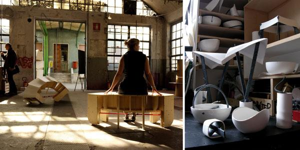 The Chasers (Hungry Caterpillars) in HotelRCA Lobby (Milan Furniture Fair, April 2010) and Porcelain versus Steel