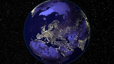 Light Dances Over Europe's Nightscape