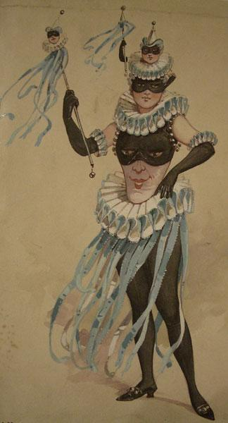 Theatrical Costume Design for a Female Jester by C Wilhelm