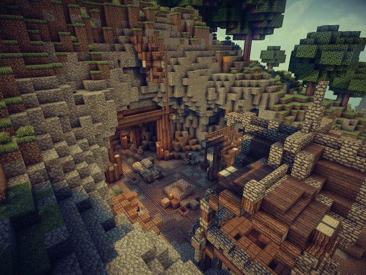 Minecraft Mojang Studios, Entrance to a Cave Mine