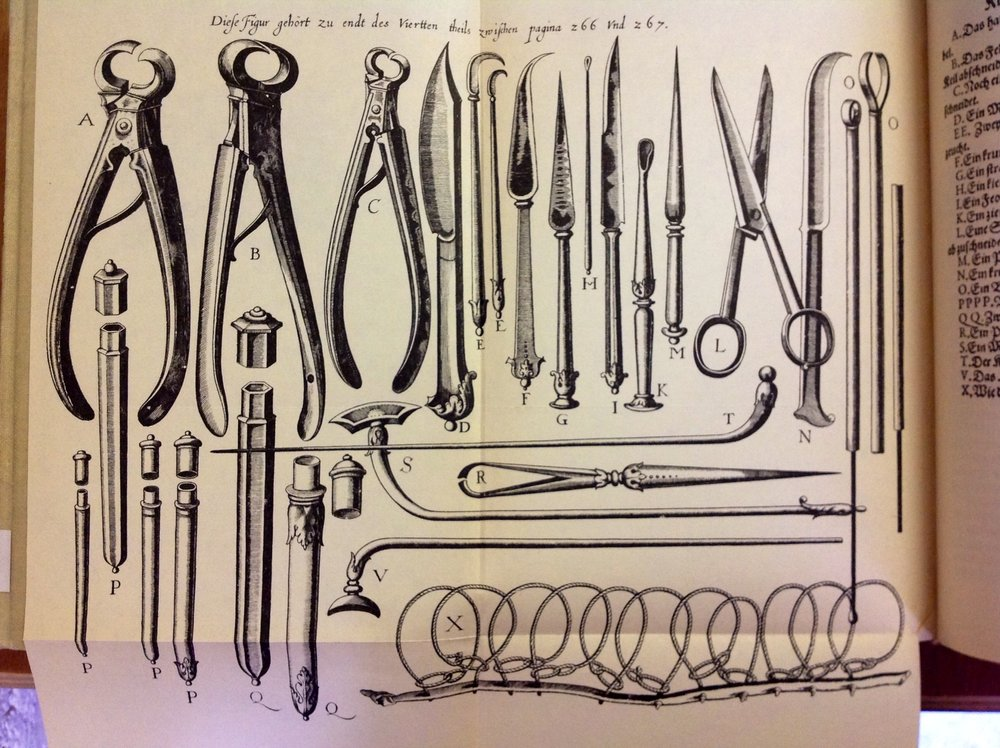 A rare detailed illustration of falconry veterinary instruments, from Charles D'Arcussia's 1617 Falconaria.