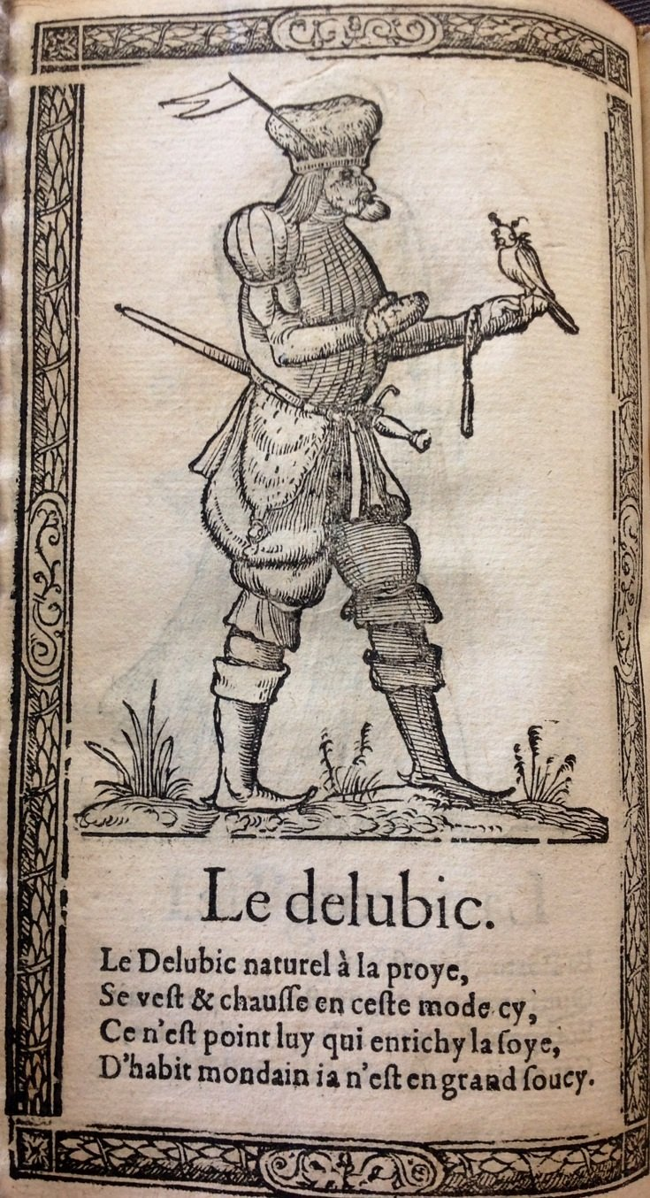 An image from the Recueilde la diversité, a 1567 costume book, demonstrating how a hooded falcon can become literally objectified, turned into an accessory object signifying nobility.