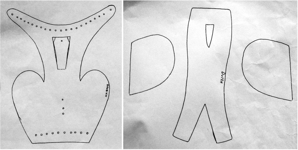 A side-by-side comparison of patterns for falconry hoods: (L) a one-piece Arabian design, and (R) a three-piece Dutch design. Traced by Emily Aleev-Snow from patterns made by falconer and hood maker Jacques van Gerven.