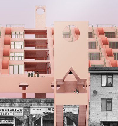 Pink housing development on top of black and white railway arches