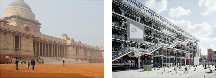 l: Rashtrapati Bhavan r: Pompidou Centre