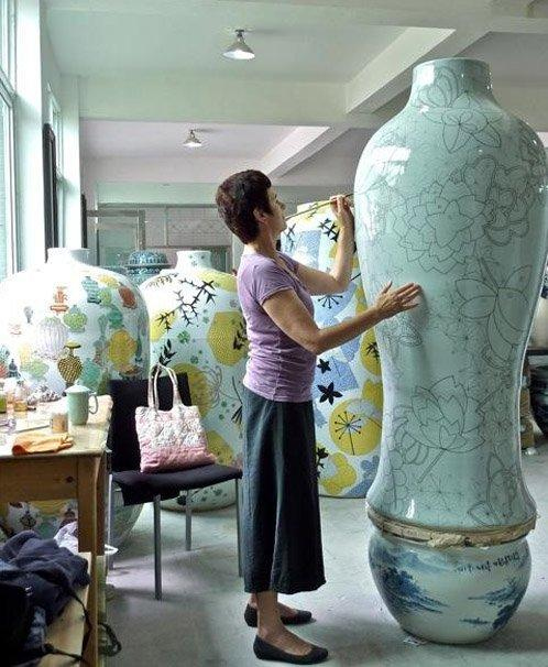 Felicity Aylieff working in her studio in China, 2013