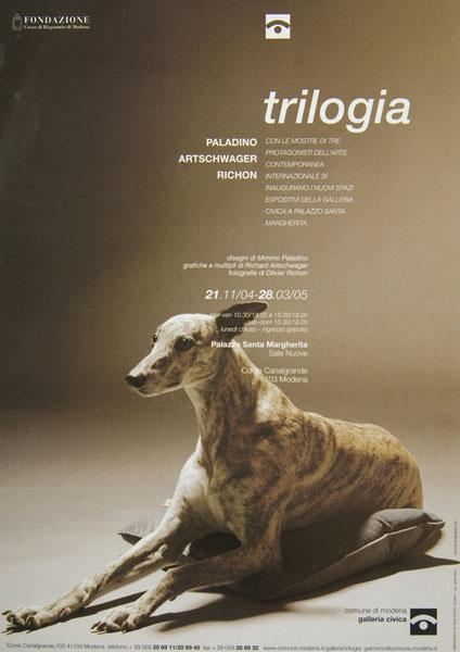 Flyer for 'Trilogia' exhibition at Galeria Civica, Modena, 2004–5