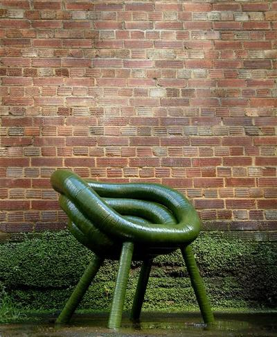 Zilla chair Designed by Ashley hall and Matthew Kavanagh for Diplomat. Hand constructed fibre reinforced windings over an aluminium tube core with green epoxy finish