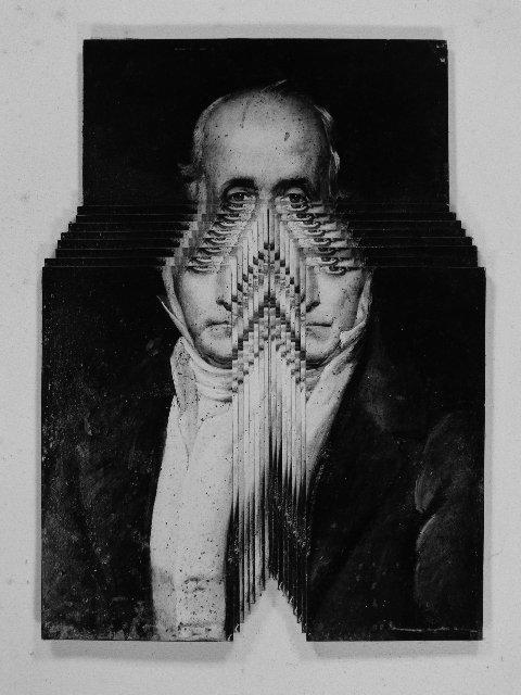 Pierre Faucheux, écartelage, Quatrième Portrait Harmonique de Charles Fourier, novembre 1965 (courtesy of Jérôme Faucheux)