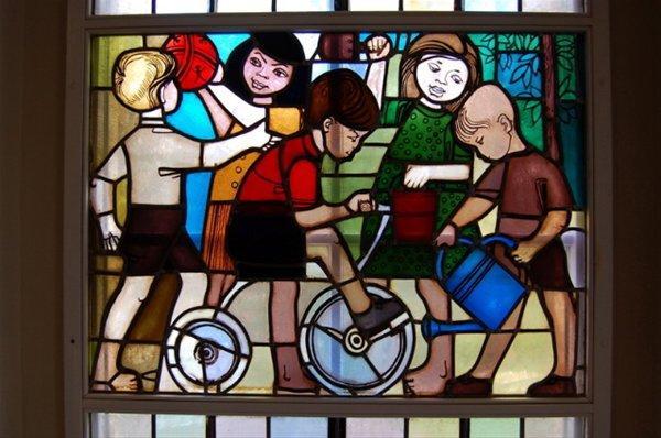 "Stained glass windows ""Our New Life"", former kindergarten, Eisenhüttenstadt"