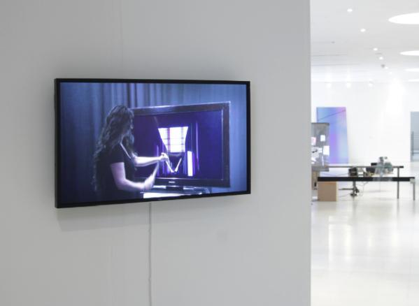Installation view, Hito Steyerl, Strike, 2010