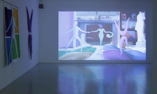 Installation view, Shana Moulton, Restless Leg Saga, 2012