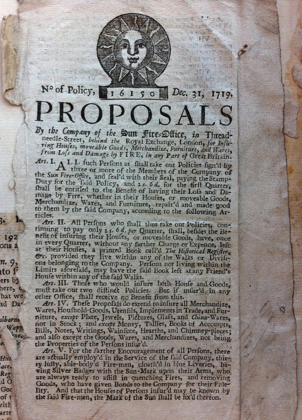 A handbill for the Sun Fire Office, London, 1719
