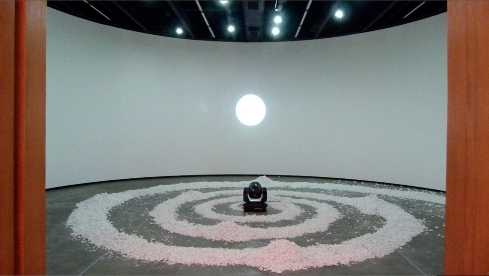 Spiral Orbit, moving light and stones