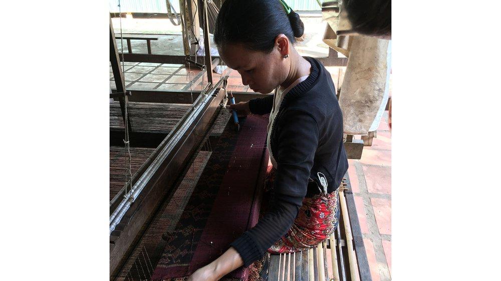 Jok Kiang, master weaver at the IKTT working on her loom, Siem Reap