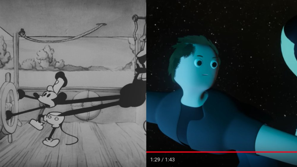 Steamboat Willie (1928), Dir. by Ub Iwerks and prod. by Walt Disney (USA) (left) / Elon Musk hosts meme review and then floats away (2019), Dir. and prod. by surreal entertainment (Sweden) (right)