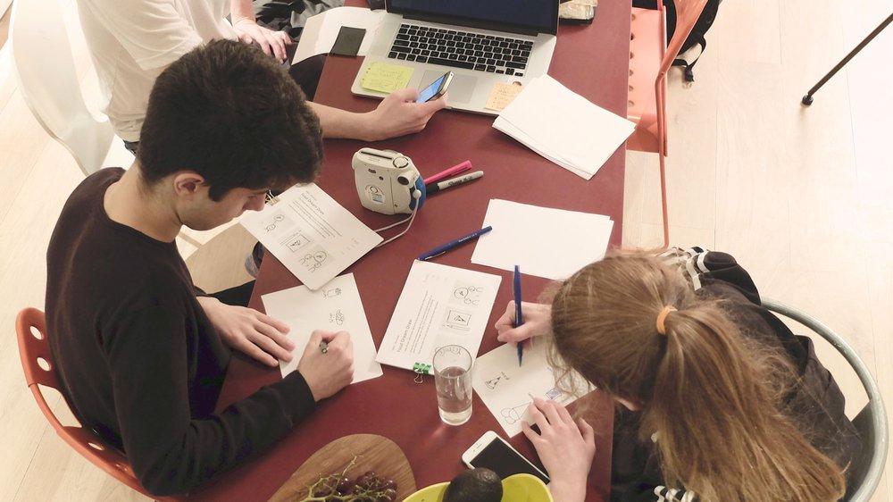 Participants creating recipes