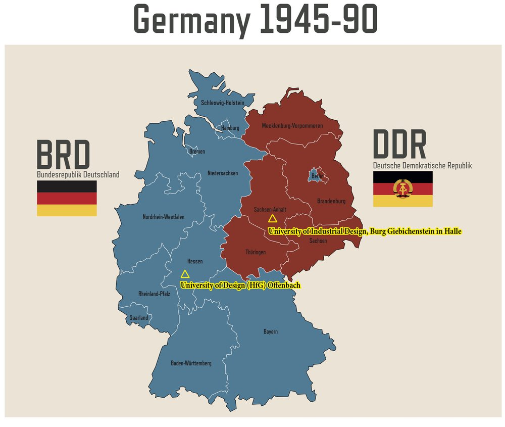 'Map Germany's division during the Cold War', including the locations of the two examined Design Universities in the former FRG (BRD: Bundesrepublik Deutschland) and GDR (DDR: Deutsch Demokratische Republik Deutschland'