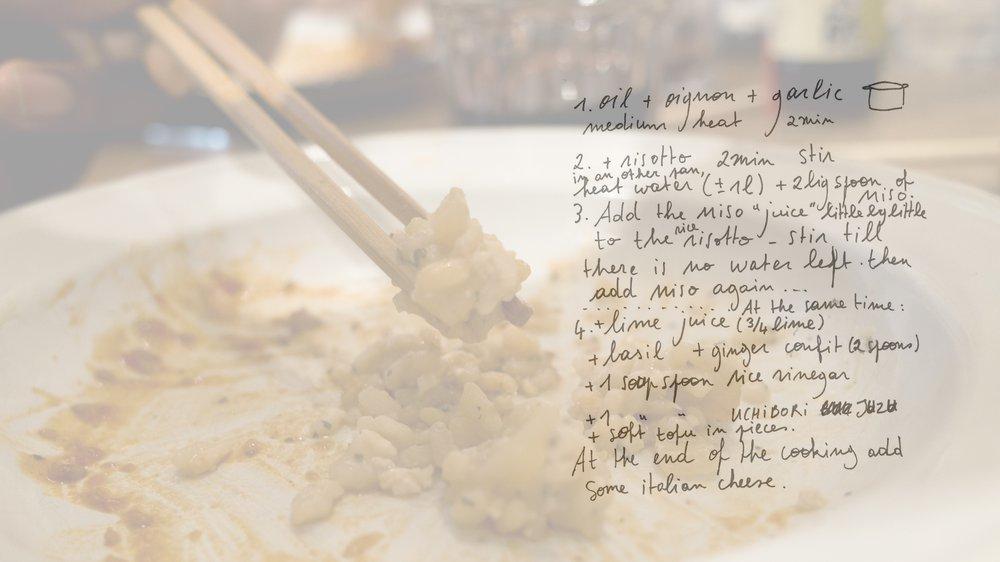 Miso risotto recipe designed by participant
