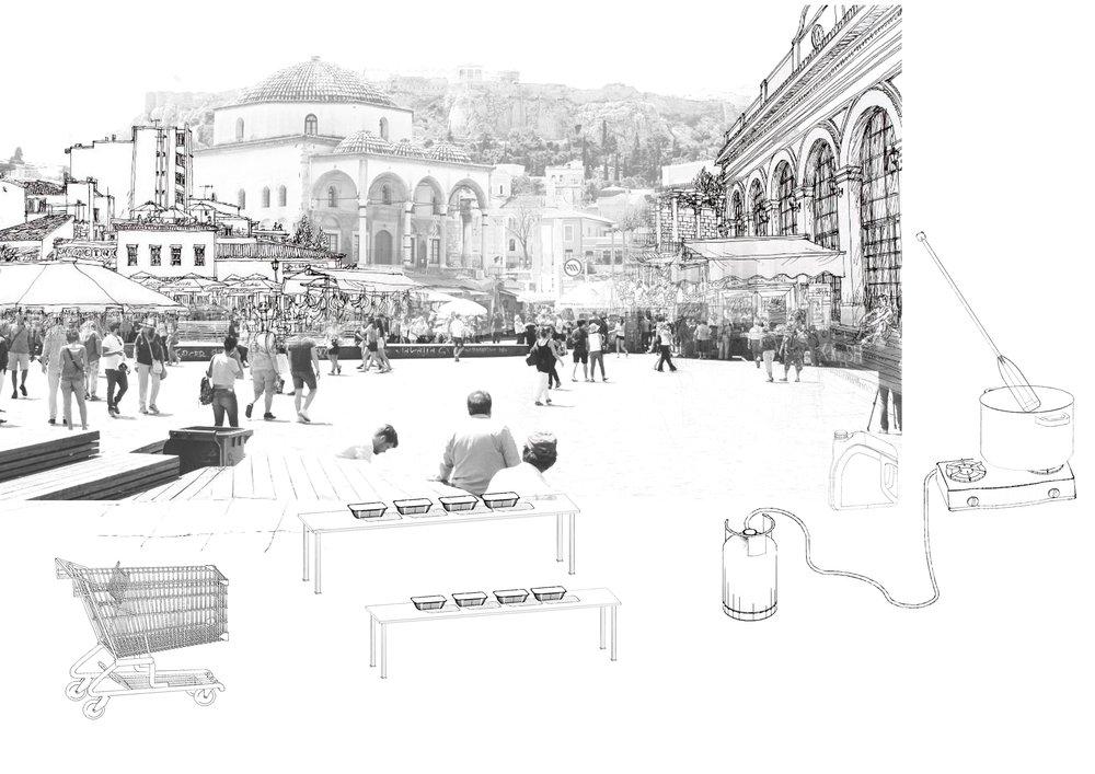 Social care equipment in Monastiraki Square, Athens