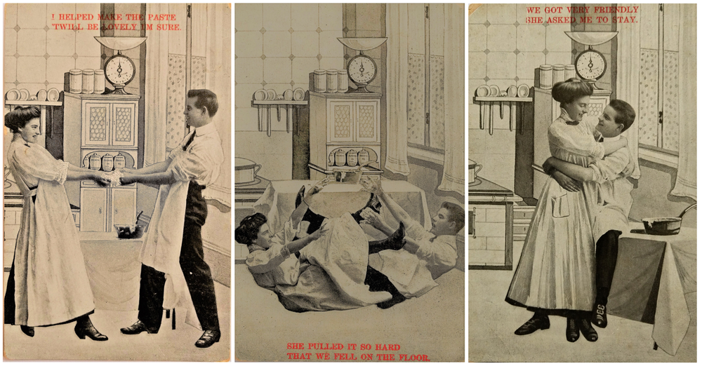 Examples of humorous Edwardian postcards of domestic life (circa 1910)