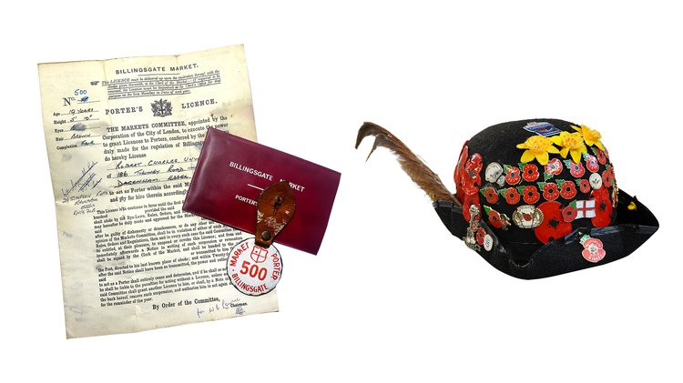 photograph of porter badge and licence from Billingsgate fish market, next to a hat covered in pin badges