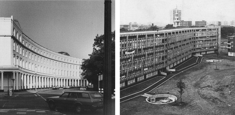 L: John Nash, Park Crescent, 1806-21, R: Alison & Peter Smithson, Robin Hood Gardens, 1968-72