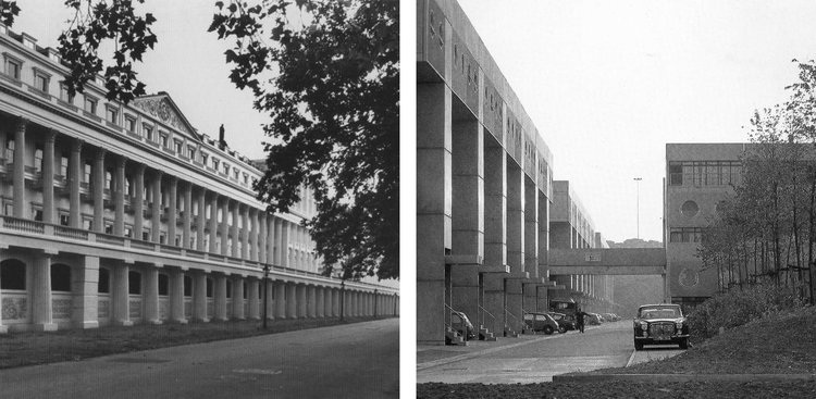L: John Nash, Carlton House Terrace, 1827–32; R: James Stirling, Southgate, 1967–77
