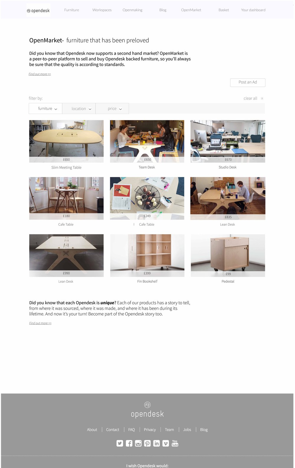 OpenMarket / second hand platform
