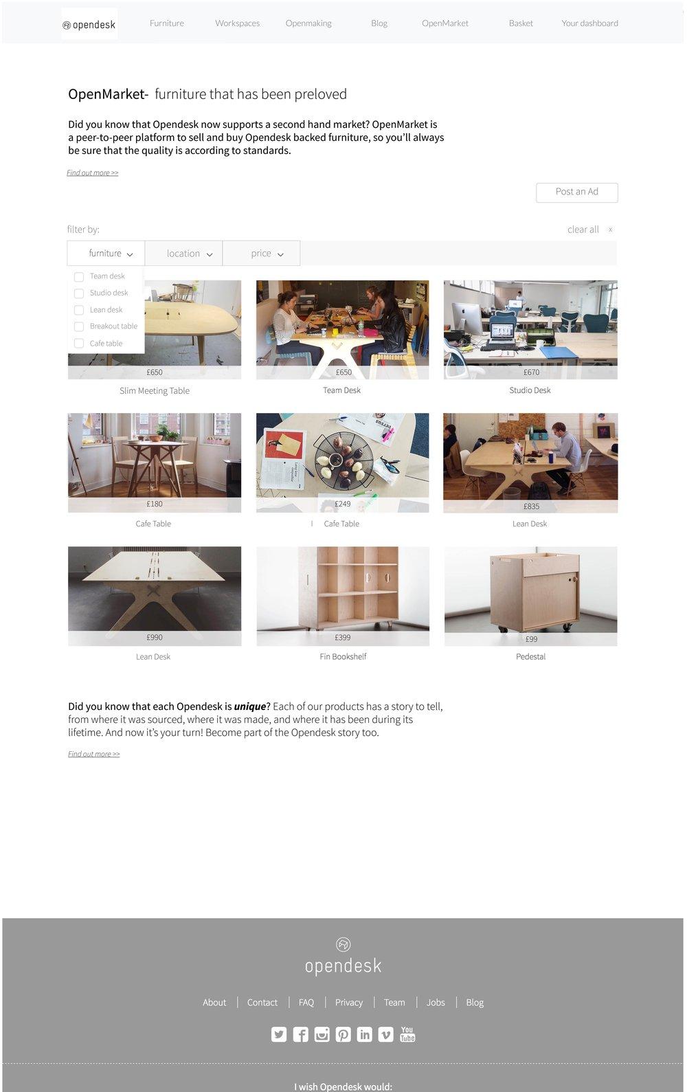 OpenMarket (second hand platform) - Design for reuse