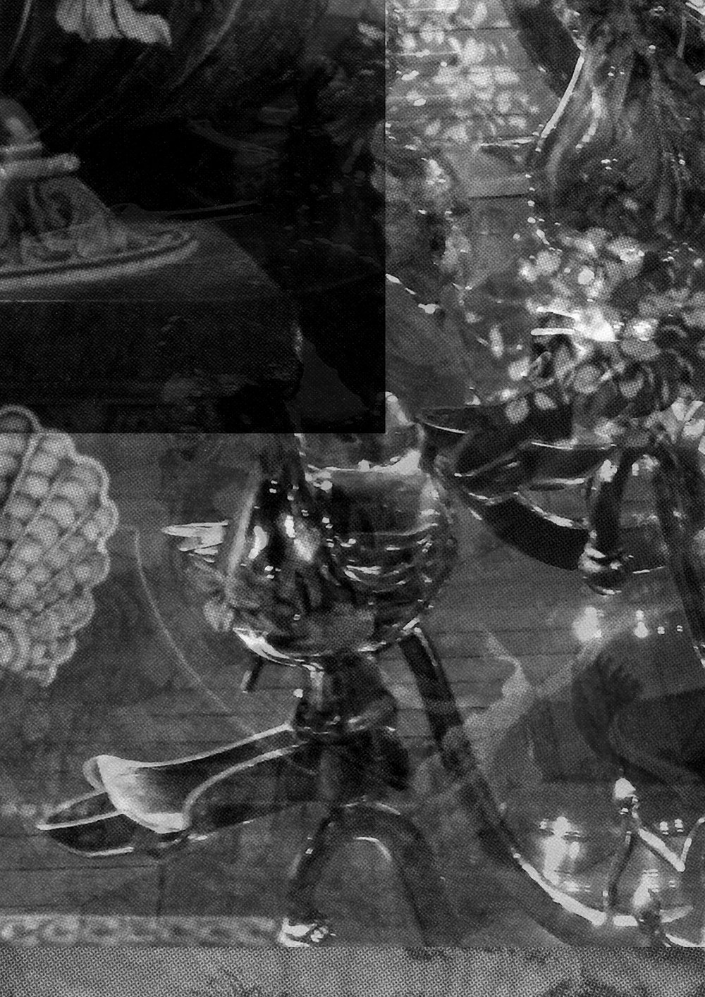 Tables Decorated with Birdcages Filled with Flowers and Feathers (Detail)