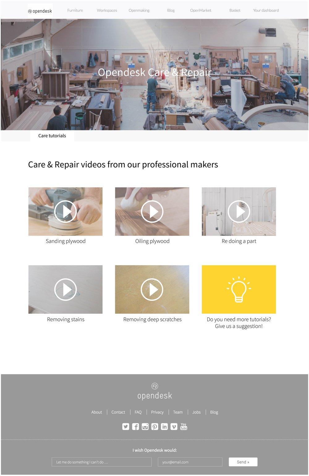 Care & Aftercare platform - Design for longevity