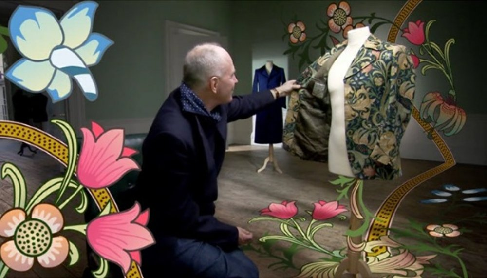 """""""Rumour had it that if you licked it, you would go on a trip yourself!"""" Still depicting John Pearse, tailor, in 'British Style Genius', BBC, 2008"""
